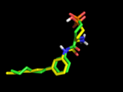 Comparison of crystal pose (green) to docked S1P1R ligand (yellow) with electrostatics turned on during conformation generation. Nice salt bridge between phosphonate and amine, DOCK score=-30.